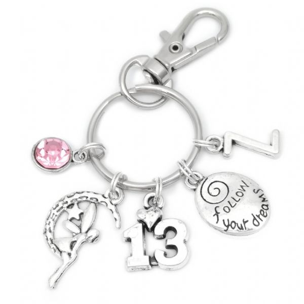 13th Birthday Fairy Moon Charm Keyring Personalised Gift For 13 Year Old